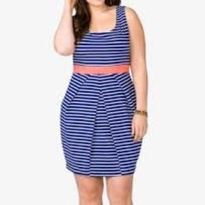 Forever 21 Plus Blue White Stripe Dress Coral Belt